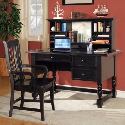 Buy Low Price Comfortable Bella Computer Desk with Optional Hutch and Chair – Black – SSC638 (B003ZJ62FU)