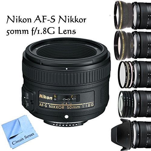 Nikon Af-S Nikkor 50Mm F/1.8G Lens, Telephoto Hd Lens, 3 Piece High Resolution Filter Kit, 4 Piece Macro Lens Kit, Tulip Lens Hood, And Cs Microfiber Cleaning Cloth