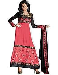 atisundar lovely Blended Georgette Designer Embroidered Anarkali in Orange And Black 4424_32_11008