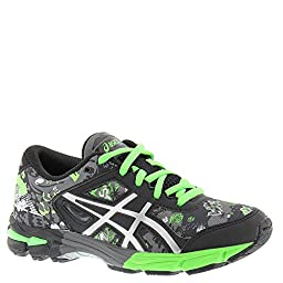 ASICS GEL-Noosa Tri 11 GS Running Shoe (Little Kid/Big Kid), Carbon/Silver/Green Gecko, 1 M US Little Kid