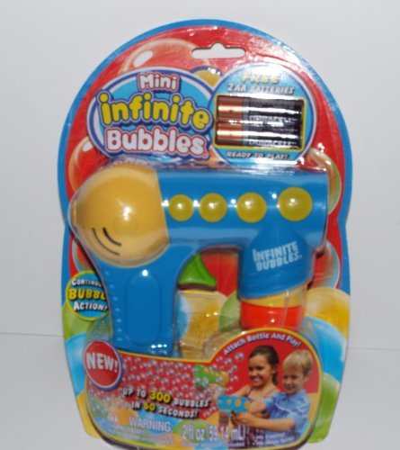 Mini Infinite Bubbles Gun with Bubble Solution and Batteries Included