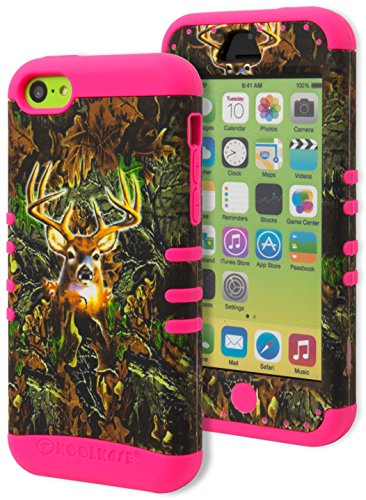 iPhone 5c Case - Bastex Heavy Duty Hybrid Case - Soft Hot Pink Silicone Cover with Brown and Green Deer Camo Print Design Hard Case for Apple iPhone 5C