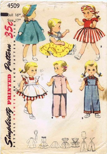 Simplicity 4509 Vintage Sewing Pattern Saucy Walker Doll Clothes
