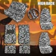 11 pc Complete Safari Zebra High Back Car Mats Seat Covers Steering Wheel Cover Set
