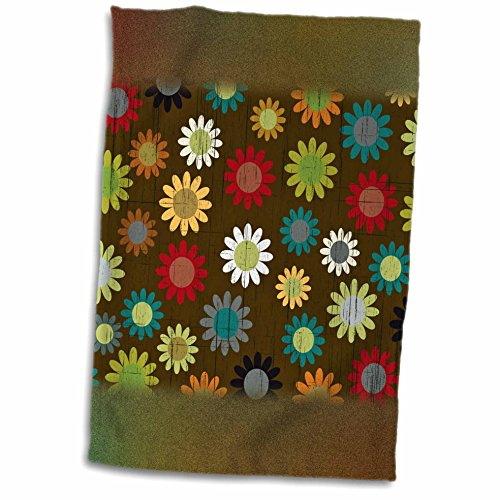 Anne Marie Baugh Patterns - Cute Multi-Colored Sixties Flowers On A Grunge Background - 11x17 Towel (60s Background)