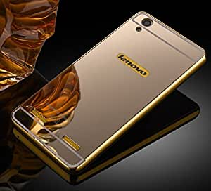 Carla Branded Luxury Metal Bumper + Acrylic Mirror Back Cover Case For Lenovo A6000 Gold + Portable & Bendable Silicone, Super Bright LED Lamp, 360 Degree Flexible by CarlaStore.