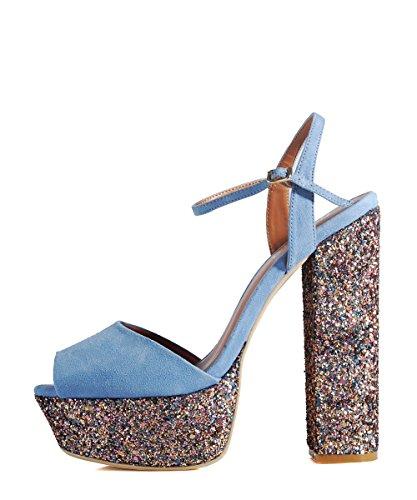 Nasty Gal Maryam 02 Periwinkle Blue Shoes - Scarpe Azzurre Con Brillantini