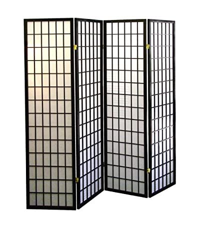 ORE International 4-Panel Room Divider, Black