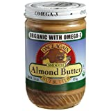 Once Again Nut Butter, Organic with Omega-3, Smooth Almond Butter, 16-Ounce Glass Jars (Pack of 6) ~ Once Again Nut Butter