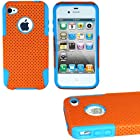 myLife (TM) Orange + Sky Blue Urban Armor (2 Piece Mesh Hybrid) Toughsuit Case for iPhone 4/4S (4G) 4th Generation Touch Phone (Thick Outer Shockproof Rubber + Soft Internal Silicone Gel + myLife (TM) Lifetime Warranty + Sealed In myLife Authorized Packaging Only) ATTENTION: This 2 piece protective case has a mesh design that allows your phone to slide easily in and out of your pocket but prevents the phone from slipping in your hands