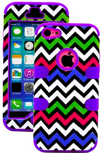 Mylife (Tm) Violet Purple + Colorful Chevron 3 Layer (Hybrid Flex Gel) Grip Case For New Apple Iphone 5C Touch Phone (External 2 Piece Full Body Defender Armor Rubberized Shell + Internal Gel Fit Silicone Flex Protector + Lifetime Waranty + Sealed Inside