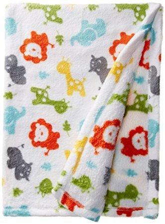 Lovespun Baby-Boys Newborn Multi Colored Animal Print Plush Blanket