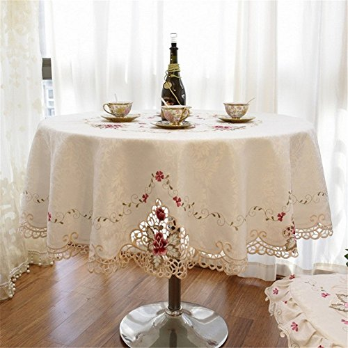 SNW European Style Embroidered Tablecloth Round Tablecloth Exquisite Lace Edge Tablecloth for Wedding