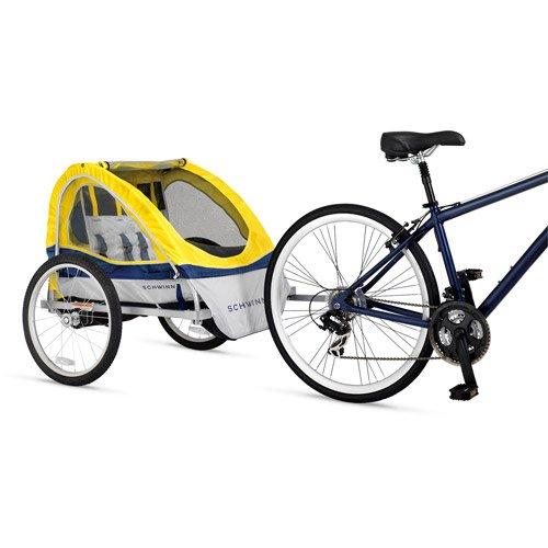 Double Bike Trailer Rust-Resistant Aluminum Alloy Frame Passenger Comfort Yellow front-855715