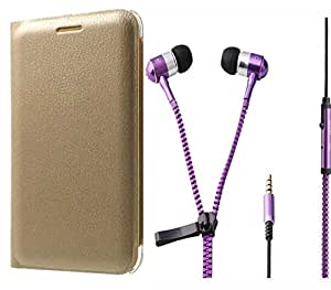 Novo Style Oppo F1 Premium PU Leather Quality Golden Flip Cover + Zipper Earphones/Hands free With Mic 3.5mm jack