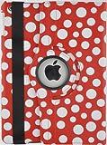 JAMMYLIZARD | Polka 360 Grad rotierende Ledertasche Hülle für iPad 4, iPad 3 und iPad 2, ROT