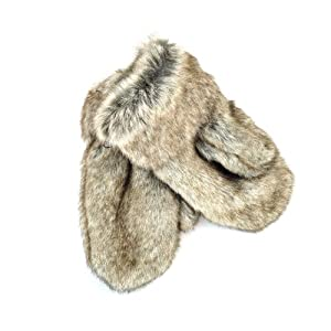 Futrzane Winter Gloves Mittens Faux Rabbit Fur High Quality For Women Men (Gray with Brown)