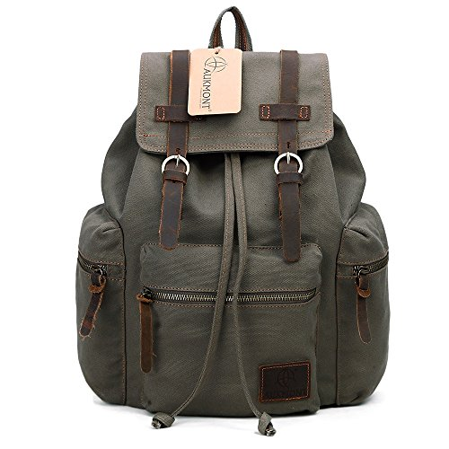 Vintage Canvas Backpack Outdoor Hiking Travel Rucksack 19L