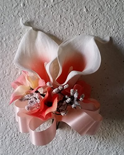 Ivory Coral Real Touch Calla Lily Wrist Corsage