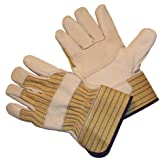 G & F Heavy Leather Palm Gloves with rubberized Safety Cuff, Large, 1-Pair