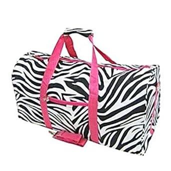 "Zebra and Hot Pink Duffel Bag Large 22"""