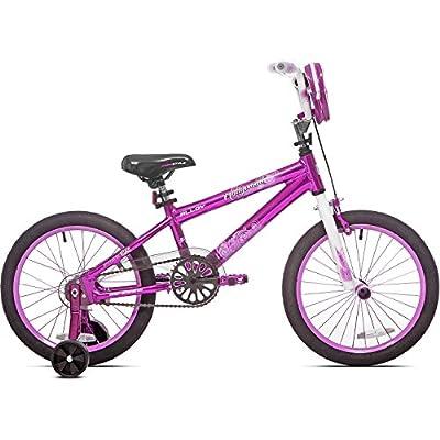 Genesis 18 inch Girls Aluminum Frame BMX Handlebars Hollywood Road Kids Bike with Training Wheels, Pink