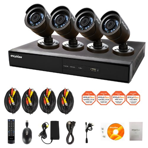Laview 4 channel complete 960h security system w remote for Look security systems