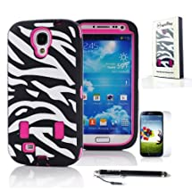 MagicSky Hot Pink Zebra Hybrid Impact Combo Hard Rubber Case for Samsung Galaxy S4 S IV i9500 + Screen Protector + MagicSky Stylus - 1 Pack - Retail Packaging