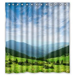 Beautiful blue sky grand mountains with green - Forest green shower curtain ...