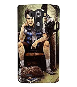 Omnam Boy Sitting With Monkey Printed Designer Back Cover Case For Lg G3
