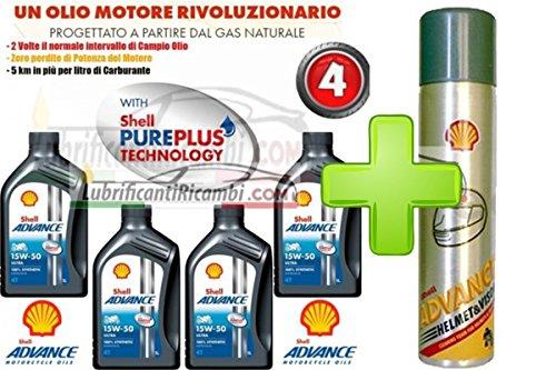 Offerta-Shell-Advance-4T-Ultra-15W50-100-Sintetico-4-LitriShell-Advance-Helmet-Pulitore-casco-Elimina-silicone-insetti-olio-grasso-formato-300-ml