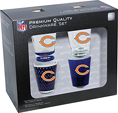 NFL Chicago Bears Shot Glass Collector Set (4-Piece), 2-Ounce, Clear