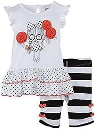 Petit Lem Baby-Girls Newborn Sleeveless Tunic with Legging, White, 3 Months