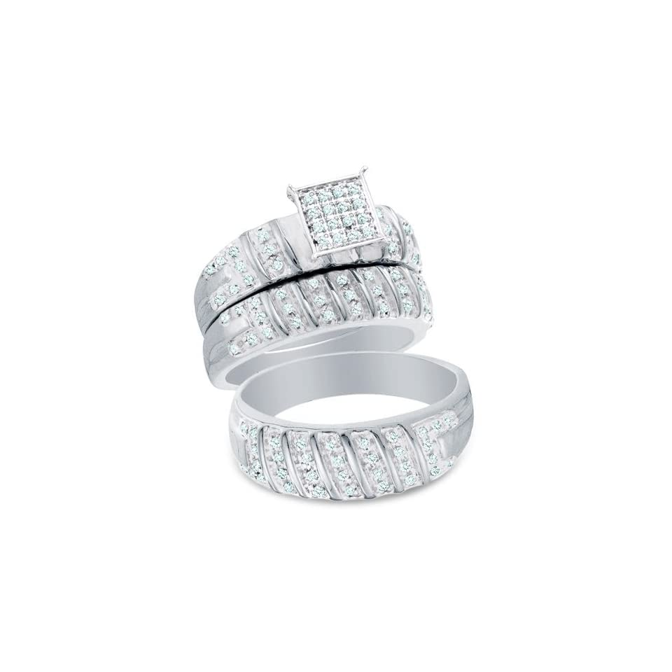 """10K Two Tone Gold Diamond Mens and Ladies Couple His & Hers Trio 3 Three Ring Bridal Matching Engagement Wedding Ring Band Set   Square Princess Shape Center Setting w/ Micro Pave Set Round Diamonds   (1/2 cttw)   SEE """"PRODUCT DESCRIPTION"""" TO"""