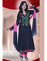 Utsav Fashion Women's Black Cotton Readymade Anarkali Churidar Kameez-X-Small