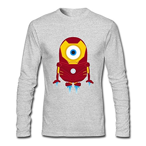 Men's Cool Funny Minions Iron Man Long Sleeve Cotton T-shirt