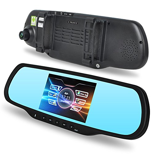 "E-Prance® H700 Dual Lens Car Gps Backup Camera Rearview Mirror 1080P Full Hd With Android 4.0.3 Os + 5"" Touch Screen + 170 Degree Ultra Wide Angle View + Bluetooth Handsfree + Built-In 8Gb Rom Memory front-755013"