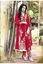Shree Khodal Women's Red Georgette Dress Material [SK_JCN1031B_A]