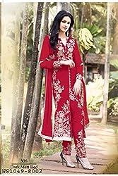 Diya Women's Red Georgette Designer Dress Materials [DS_JCN1031B_E]