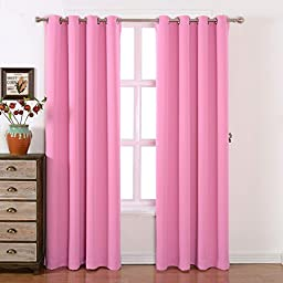 AMAZLINEN Toxic Free Energy Smart Thermal Insulated Blackout Drapes And Curtains 52 W X 84 L Inch,Grommet Top,Set Of 2 Panels With Bonus Tie Back(Barbie Pink)