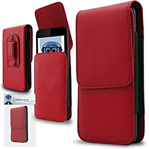 Red PREMIUM PU Leather Vertical Executive Side Pouch Case Cover Holster with Belt Loop Clip and Magnetic Closure for Sony Xperia E4