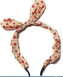 Cute Bunny Ears Girls Headband Hair Band Polka Dot Bathroom(Beidge with White Dot)