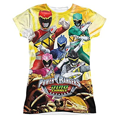 Power Rangers Dino Charge Charged For Battle Junior Fit - All Over Front T-Shirt