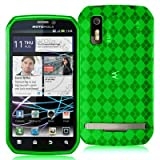 High Gloss Argyle Green Flexible TPU Cover Skin Phone Case for Motorola Pho ....