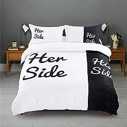 Bettwäsche / Bettbezüge His Side Her Side Schwarz Queen Size