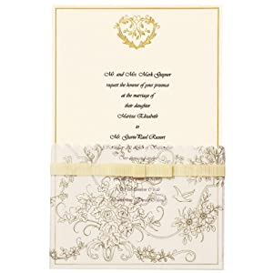 Wilton 25-Pack Wedding Toile Invitation, Gold