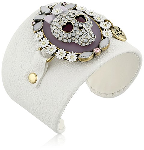 Betsey Johnson Skull Leather Cuff Bracelet - Arm Cuff Jewelry for Women