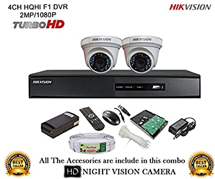 Hikvision DS-7204HQHI-E1 4CH Dvr, 2(DS-2CE56DOT-IRP) Dome Camera (With Mouse, Remote, 1TB HDD,Cable , Bnc&Dc Connectors,Power Supply)