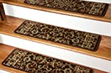 Dean Non-Slip Tape Free Pet Friendly Stair Gripper Carpet Stair Treads - Classic Keshan Chocolate Brown 31