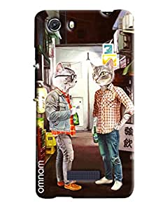 Omnam Two Cats Waring Men Dress And Talking To Each Other Printed Designer Back Cover Case For Micromax Unite 3